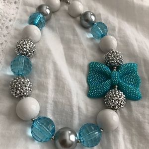 Blue & Silver Bow Necklace
